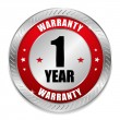 Red one year warranty seal — Vector de stock
