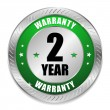 Green two year warranty seal — Image vectorielle