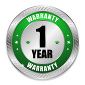 Green one year warranty seal — Stock Vector