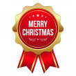 Red round merry christmas badge with ribbon — Stock Vector #31572127