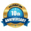 Stock Vector: Blue 10 year anniversary button