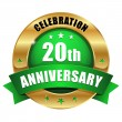 Stock Vector: 20 years anniversary button