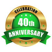 40 years anniversary button — Stock Vector