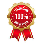 Red hundred percent satisfaction badge — Stock Vector