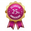 Gold 25 year anniversary  badge — Stock Vector