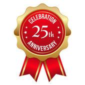 Guld 25 års jubileum badge — Stockvektor