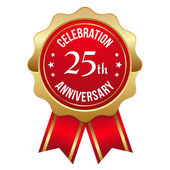 Oro distintivo anniversario 25 anni — Vettoriale Stock