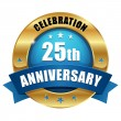 Gold 25 year anniversary button — Vector de stock #31870447