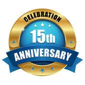 Ouro botão de aniversário de 15 anos — Vetor de Stock