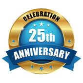 Altın 25 yıl yıldönümü düğmesi — Stok Vektör
