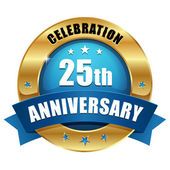 Zlato 25 let výročí tlačítko — Stock vektor