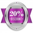 Twenty percent discount button — Stock Vector
