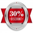 Thirty percent discount button — Stock Vector