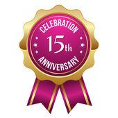 Fifteen year anniversary badge — Stock Vector