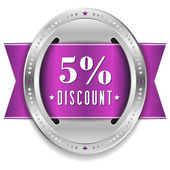 Five percent discount button — Stock Vector