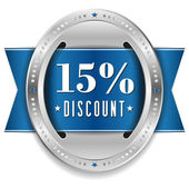 Fifteen percent discount button — Stock Vector