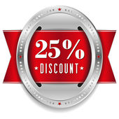 Twenty-five percent discount button — Stock Vector