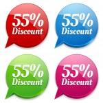 Fifty-five percent discount badge — Stock Vector #32567755