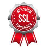 Distintivo di transazione sicura con nastro — Vettoriale Stock