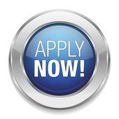 Blue silver apply now button — Stock Vector