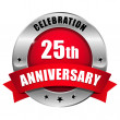 Red 25 year anniversary button — Vector de stock #32781855