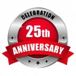 Red 25 year anniversary button — Stock vektor #32781855