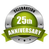 Green 25 year anniversary button — Stock Vector