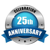 Blue 25 year anniversary button — Stock Vector