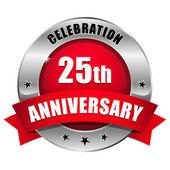Pulsante anniversario anno 25 rosso — Vettoriale Stock