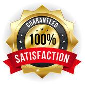 Hundred percent satisfaction badge — Stock Vector