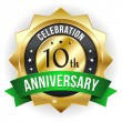 Stock Vector: 10 year anniversary button