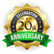 20 year anniversary button — Stock Vector