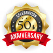 50 year anniversary button — Stock Vector