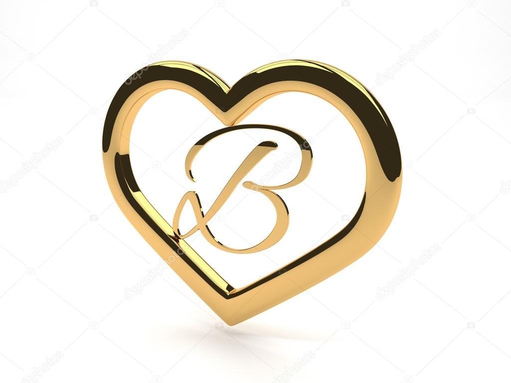 B Letter In Gold Ring Gold jewelry heart with letter