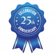 Twenty-five year anniversary badge — Stock Vector
