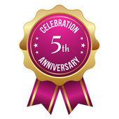 Five year anniversary badge — Stock Vector