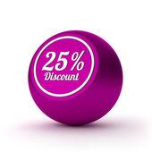 Twenty-five percent discount button — Stock Photo