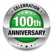 Green 100 year anniversary button — Stock Vector