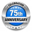Blue 75 year anniversary button — Stock Vector