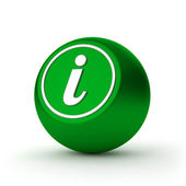 Green round information button with metallic letter — Foto de Stock