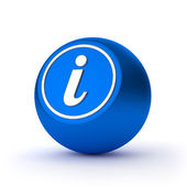 Blue round information button with metallic letter — Stock Photo