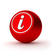 Red round information button with metallic letter — Foto de Stock