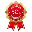 Red golden 50th year anniversary badge — Vektorgrafik