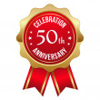 Red golden 50th year anniversary badge — 图库矢量图片