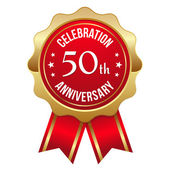 Red golden 50th year anniversary badge — Stock Vector