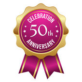 Purple golden 50th year anniversary badge — Stock Vector