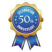Blue golden 50th year anniversary badge — Stock Vector