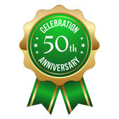 Green golden 50th year anniversary badge — Stock Vector