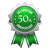 Green silver 50th year anniversary badge — Stock Vector