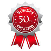 Red silver 50th year anniversary badge — Stock Vector